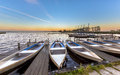 Small rental boats in a marina in summer Royalty Free Stock Photo