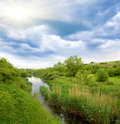 Small river in steppe Stock Photo