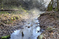 Small river winter morning france Royalty Free Stock Images