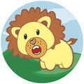 Small roaring lion with a thick mane Stock Photo