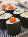 Small Rolled Sushi on a Plate Stock Photo