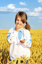 Small rural girl on wheat field Stock Photos