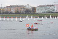 Small sailboats in the Olympic torch relay Royalty Free Stock Photo