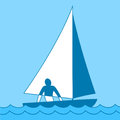 Small sailing boat. Sloop. Ship coming through waves under sail. Man on board. Vector illustrations Royalty Free Stock Photo
