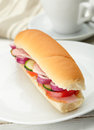 Small sandwich with deli meats and vegetables Stock Photos