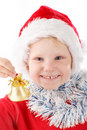 Small Santa ringing a bell Stock Photography