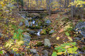 Small scale logging tracks over creek on the blue ridge parkway during autumn Royalty Free Stock Image