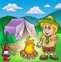 Small scout with fire and tent Stock Image