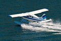 Small Seaplane Landing in Alaska Royalty Free Stock Photo