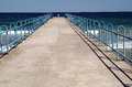 Small seaside pier primorsko bulgaria europe black sea Stock Photos
