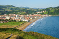 The small seaside town in the basque country lonely girl running down hill Royalty Free Stock Images