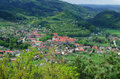 Small settlement in hills hilly landscape with czech republic Royalty Free Stock Photos