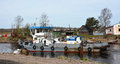 Small ship on the neva river shlisselburg city russia Stock Photo