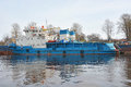 Small ship on the neva river at shlisselburg city russia Royalty Free Stock Photos