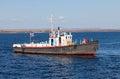 Small ship on river Volga Royalty Free Stock Photography