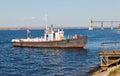 Small ship on river Volga Stock Photography