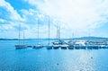 The small shipyard la maddalena sardinia september moored yachts between maddalena and caprera islands on september in la Stock Photography