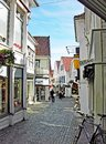 Small shopping street in the old town of Stavanger in Norway Royalty Free Stock Photo