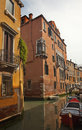 Small Side Canal Bridges Venice Italy Stock Photo