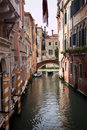 Small Side Canal Yellow Poles Bridge Venice Italy Stock Images