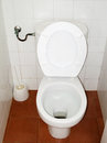 Small and simple toilet with a brush of battery Royalty Free Stock Photos