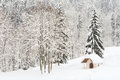 Small snowy alpine chapel in the forest i a at mid winter following a heavy snowfall Stock Photos