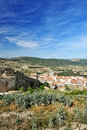Small spanish Morella town with mountain view Royalty Free Stock Image