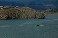Small speedboat near shore of Baikal lake Royalty Free Stock Photo