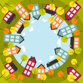Small spherical town vector illustration Stock Images