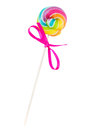 Small spiral lolly pop candy isolated on white background Royalty Free Stock Photo