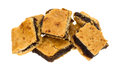 Small square fig bar squares on a white background Royalty Free Stock Photo