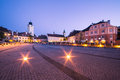 Small square in sibiu with the old tower council transylvania romania Stock Photography
