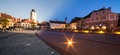 Small square in sibiu with the old tower council transylvania romania day to night panorama Royalty Free Stock Images