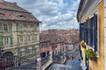 The small square of sibiu romania july on july in romania buildings here date since th centuries and used to house Stock Photography