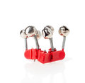 Small steel bells for fishing isolated Stock Photo