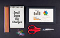 Small Steps Big Changes. Tablet, pencils, scissors, paper clips Royalty Free Stock Photo