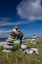 Small stone Cairns at  Rubh' Aird-Mhicheil Royalty Free Stock Photos