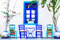 small street tavernas, Kos island,Greece. Royalty Free Stock Photo