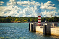 Small striped lighthouse in Klaipeda Royalty Free Stock Photo