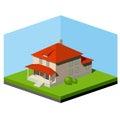 Small suburban house abstract vector isometric illustration Royalty Free Stock Photos