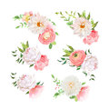 Small summer bouquets of rose, peony, ranunculus, dahlia, carnation, green plants