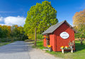 Small swedish farm store in autumn scenery Stock Photos