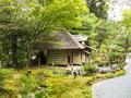 Small tea house in a garden japanese green Stock Photos