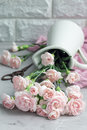 Malé ponuka ružový karafiát kvety v smalt na šedá betón kopírovať priestor  vertikálne