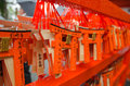 Small torii in fushimi inari shrine kyoto japan on rainy day Stock Photography