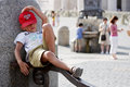 Small tourist rests a resting near a fountain in vatican city rome Royalty Free Stock Photos