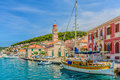 Small touristic town Pucisca in Croatia. Royalty Free Stock Photo