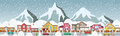 Small town in the alps vector illustration of mountains Royalty Free Stock Image