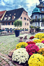 Small town center in Alsace, France Royalty Free Stock Photo