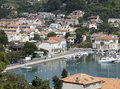 Small town in croatia sunny illuminated high angle view of a with harbor Royalty Free Stock Images